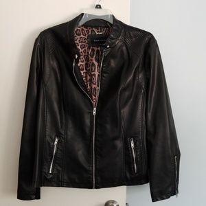 Black Faux Leather Jacket 2X